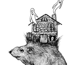 Haunted Mouse House Print