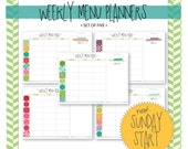 Sunday Start : Weekly Menu Planner with Shopping List - Set of 5