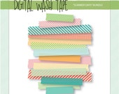 Digital Washi Tape - Summer Days - 15 Assorted Patterns & Sizes