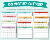 Printable 2019 Monthly Calendars