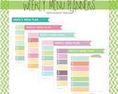 Simple Weekly Menu Planner with Shopping List and Budget Tracker - Set of 5