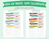 2018 A5 Washi Tape Printable Calendars