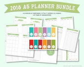 "2018 Monthly Planner and Organizer Bundle : 5.5""x8.5"" (A5 size)"