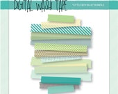 Digital Washi Tape - Little Boy Blue - 15 Assorted Patterns & Sizes