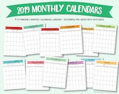 Printable 2019 monthly calendars (portrait/vertical orientation)