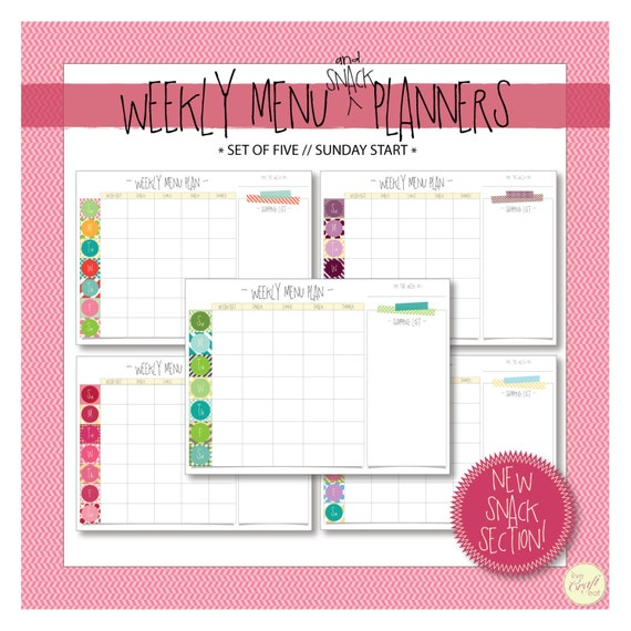 weekly menu  u0026 snack planner with shopping list      sunday
