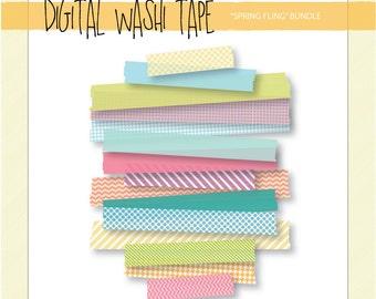 Digital Washi Tape - Spring Fling - 15 Assorted Patterns & Sizes