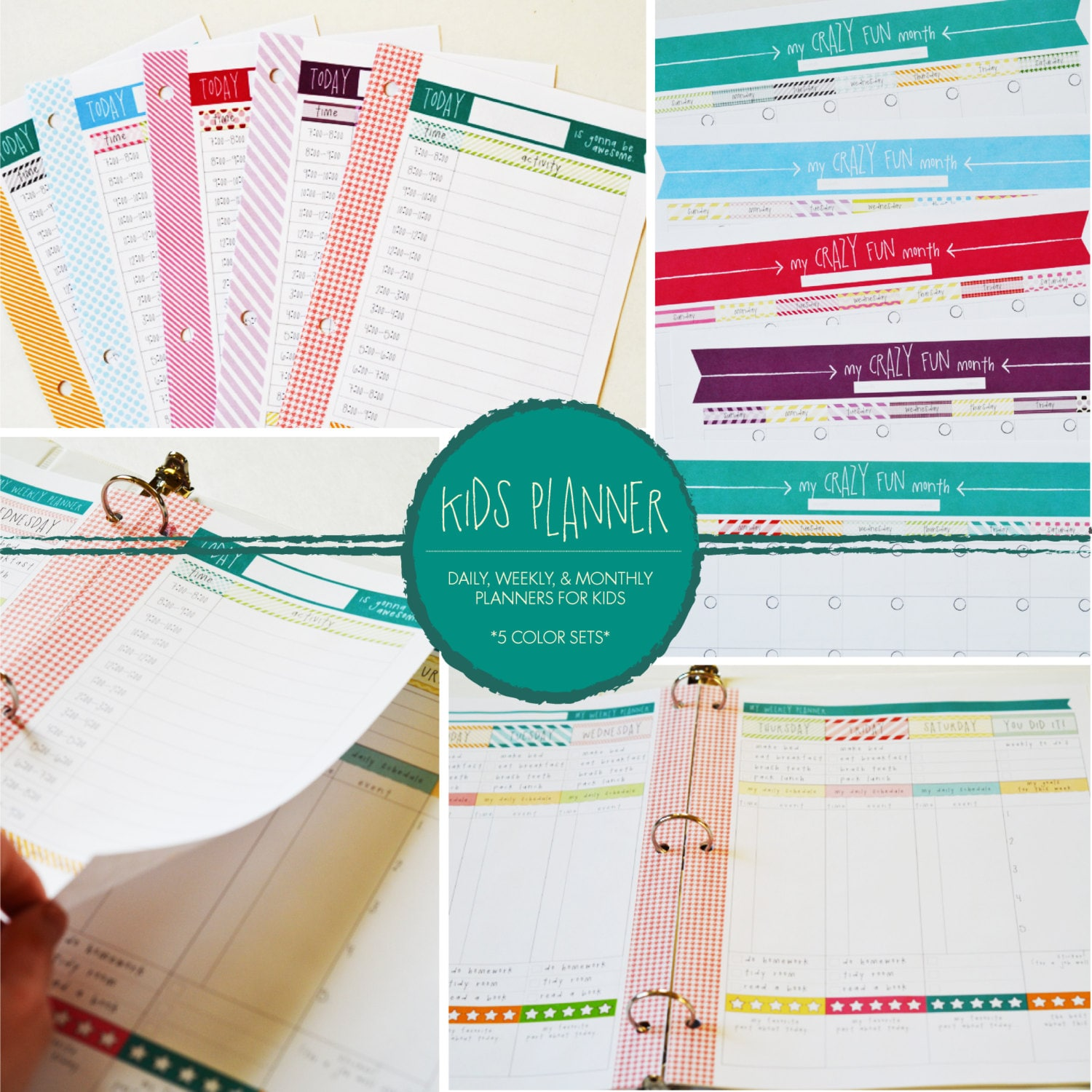 Kids Organizational Daily Weekly & Monthly Planner Set 5 | Etsy