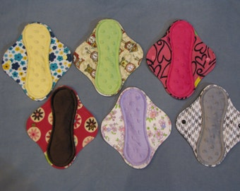 """8"""" Momma cloth menstrual pads or incontinence pads - Minky + Flannel Set of 6!"""
