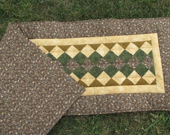 Quilted Earth Toned Table Runner
