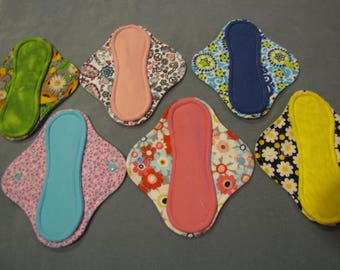 """8"""" Momma cloth menstrual pads or incontinence pads - Zorb + Flannel Set of 6!"""