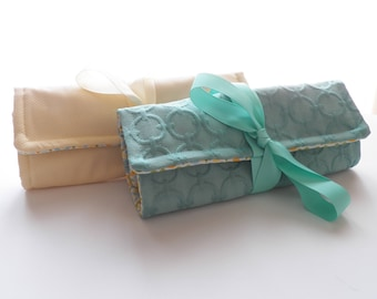 Jewelry Roll Travel Accessory Bridesmaid Gift Yellow or Aqua Monogram Personalization Available