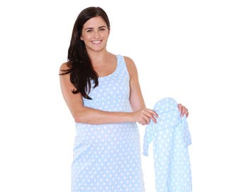 482139d849329 Nicole Maternity Nursing Nightgown & Matching Baby Romper Set, Mommy and  me, Hospital Bag Must Have, Baby Shower Gift Blue Dotted