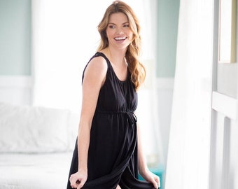 08bd12df43 3 in 1 Black Maternity Labor Nursing Delivery Hospital Gown By Baby Be  Mine