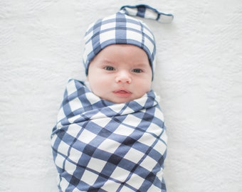 03ed2784e12 2 Piece Set - Blue Gingham Swaddle Blanket and Newborn Hat by Baby Be Mine  Maternity/Baby Shower Gift/Baby Boy