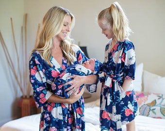 efdb2bbc20174 4 PC Annabelle Mommy & Me Girl Robe Set and Matching Baby Swaddle Blanket  and Newborn Hat / Big Sister /Delivery Robe Baby be Mine Maternity