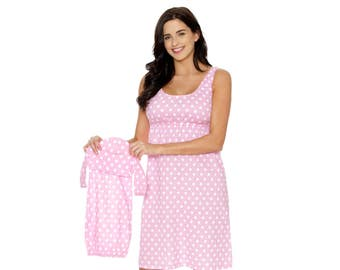 b816015b4e4a4 Maternity Nursing Nightgown & Matching Baby Romper Set, Mommy and me,  Hospital Bag Must Have, Makes Great Baby Shower Gift Pink Dotted