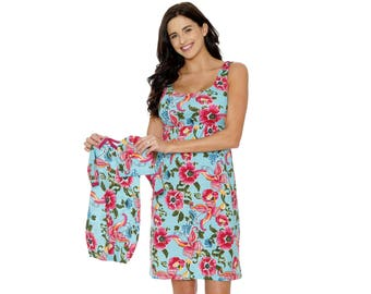 dba61d509abce Maternity Nursing Nightgown & Matching Baby Romper Set, Mommy and me,  Hospital Bag Must Have, Makes Great Baby Shower Gift Floral Isabelle