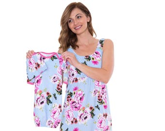 1d688e59d5cf6 3 PC Set - Isla Floral Maternity Nursing Nightgown & Matching Baby Romper  Set, Mommy and Baby, Hospital Bag Must Have, Baby Shower Gift