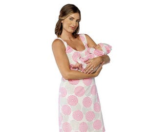 15191b8ae05ed Lilly Maternity Nursing Nightgown & Matching Baby Romper Set, Mommy and Me,  Hospital Bag Must Have, Makes Great Baby Shower Gift Floral