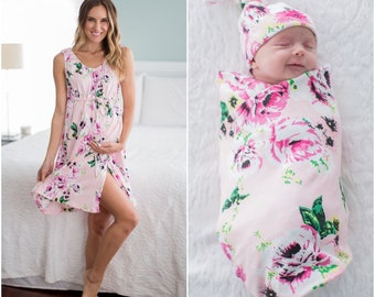 ae4a693a24 3 PC Set -Amelia Floral Maternity 3 in 1 Maternity Labor Delivery Nursing  Hospital Gown   Matching Baby Swaddle Blanket Set  Baby Be Mine
