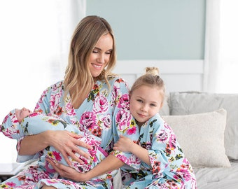 505c8875f92a1 4 PC Isla Mommy & Me Girl Robe Set and Matching Baby Swaddle Blanket and  Newborn Hat / Big Sister / Delivery Robe /Baby be Mine Baby Shower