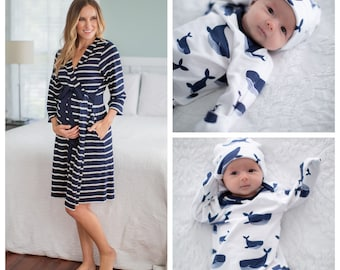 b26cb1a8226d3 3 PC Set -Navy Stripe Maternity Delivery Labor Nursing Robe   WHALE Baby  Boy Coming Home and Newborn Hat Set  By Baby Be Mine Maternity
