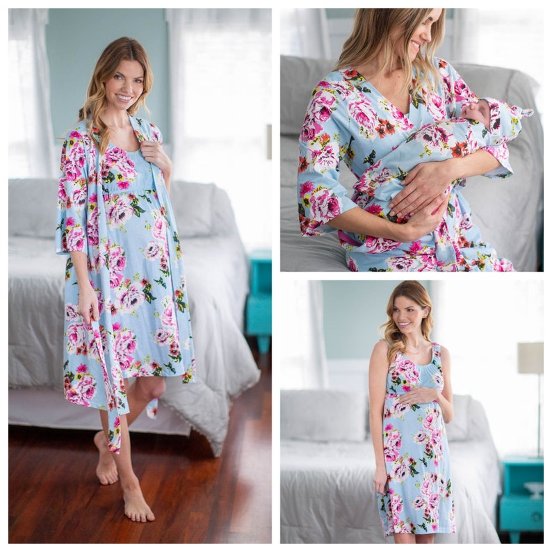 63254eabbc7 4 PC Set-Isla Floral Maternity Delivery Labor Nursing Robe