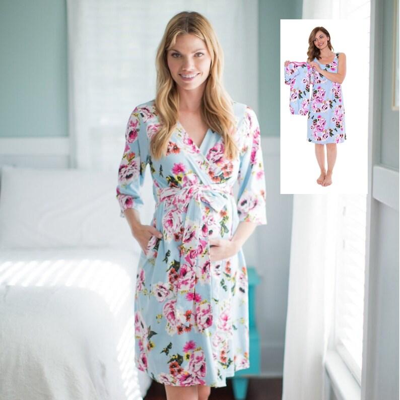 477a55c29458e 4 PC Set Isla FloralMaternity Delivery Labor Nursing Robe & | Etsy