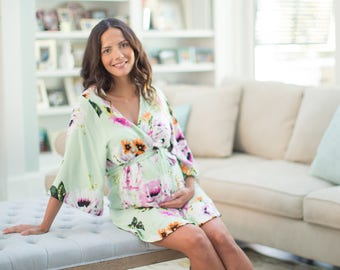Luxurious Ultra Soft Maternity Delivery Labor Nursing Robe-Hospital Bag Must Have Floral Birthing Hospital Gown Kimono Delphine