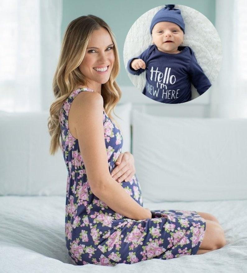 288ffd47cb 3 PC Set Eve Maternity Nursing NIGHTGOWN   Blue I m
