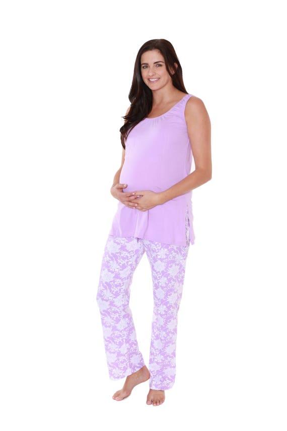Helen Floral Lavender Purple Maternity/Nursing Pajamas Baby