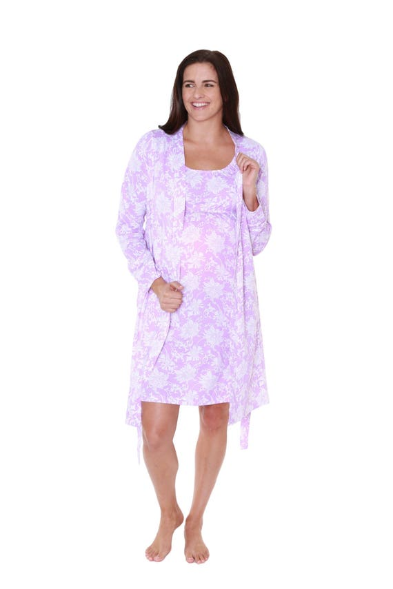 4f35e930d 2 PC Set Helen Floral Maternity Delivery Labor Nursing Robe