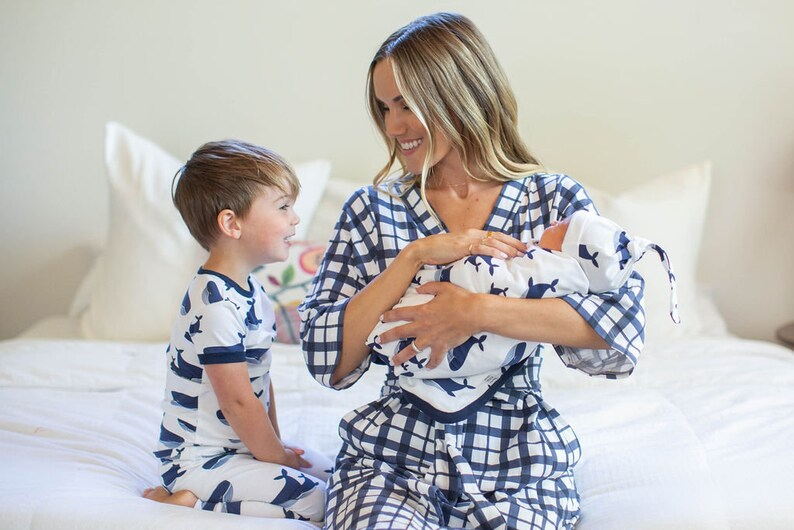 15c7252ad79e8 5 PC Blue Gingham Delivery Robe Navy Whale Baby Swaddle   Etsy