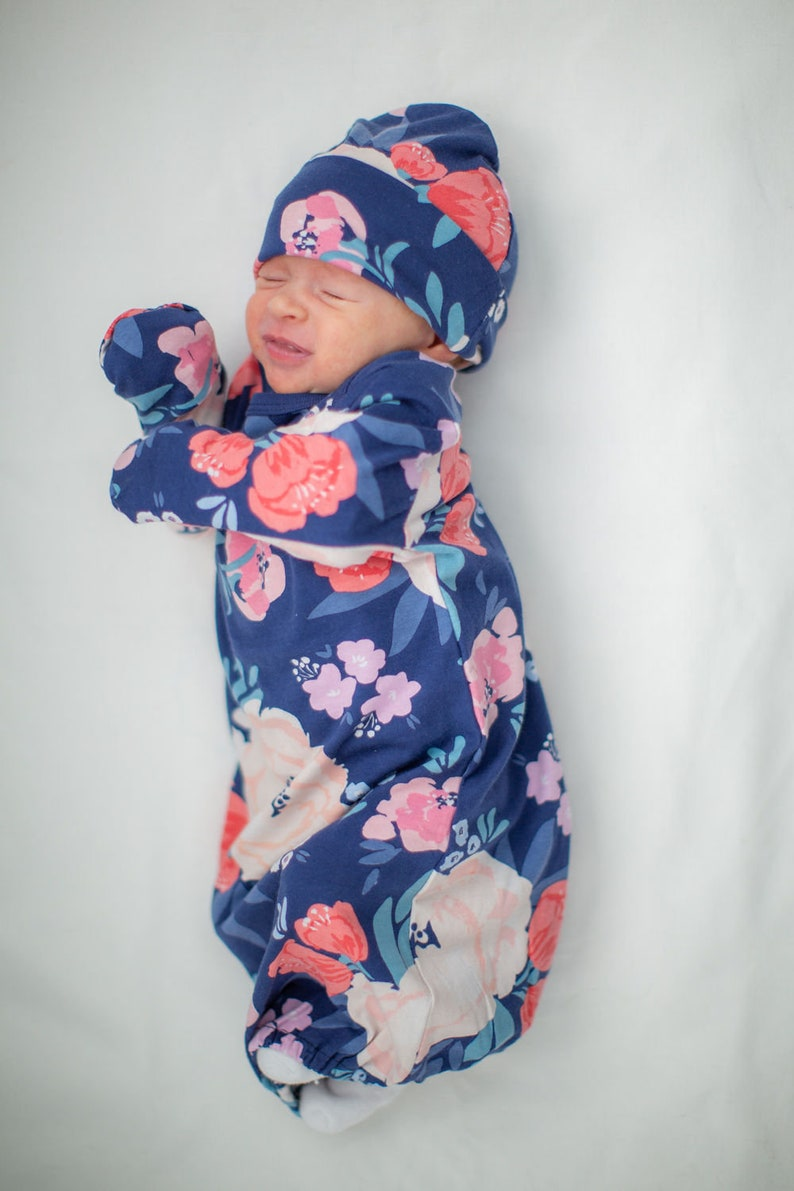 Annabelle  Floral Baby Gown and Newborn Hat Set  Baby Coming Home Outfit  Baby Shower Gift  Baby Girl Layette   Baby be Mine Maternity