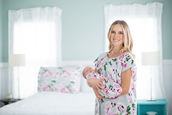 c8cb5e8dd3f 3 PC Set Olivia Floral Maternity Labor Delivery Hospital Gown