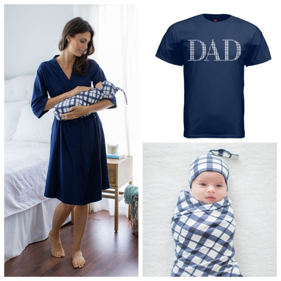 Navy Swaddle,Baby Boy Blanket,Striped Swaddle,Mommy and Me,Matching Set,Maternity Robe,Cute,Baby Shower Gift,Nursing,Pregnant,Blue Swaddle