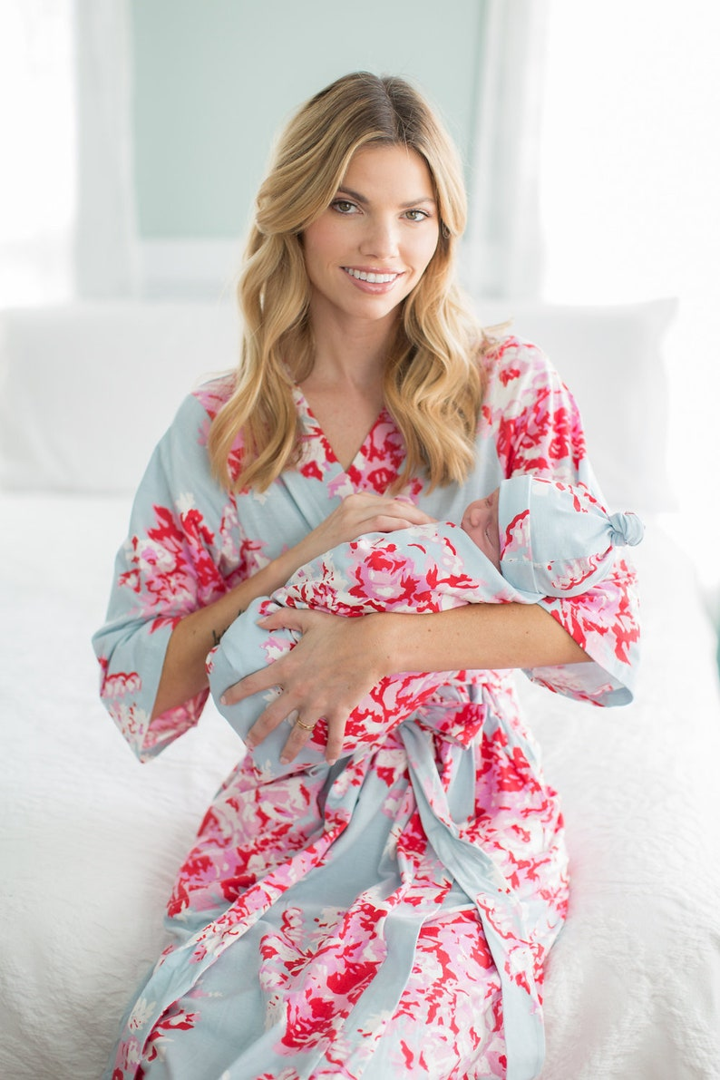 Amelia Floral 3 in 1 LABOR Delivery Gown+Matching Delivery ROBE and Matching Swaddle Blanket and Newborn Hat Set By Baby Be Mine 4 PC Set