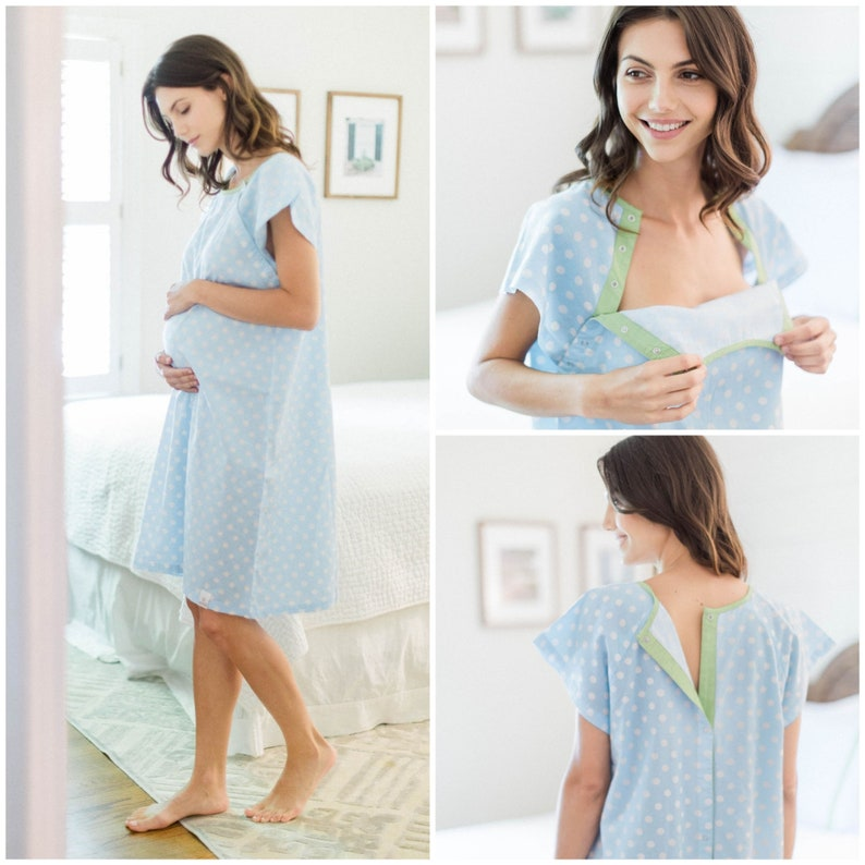 962000abd9e45 Nicole Blue Dotted Labor Delivery Maternity Hospital Gown   Etsy