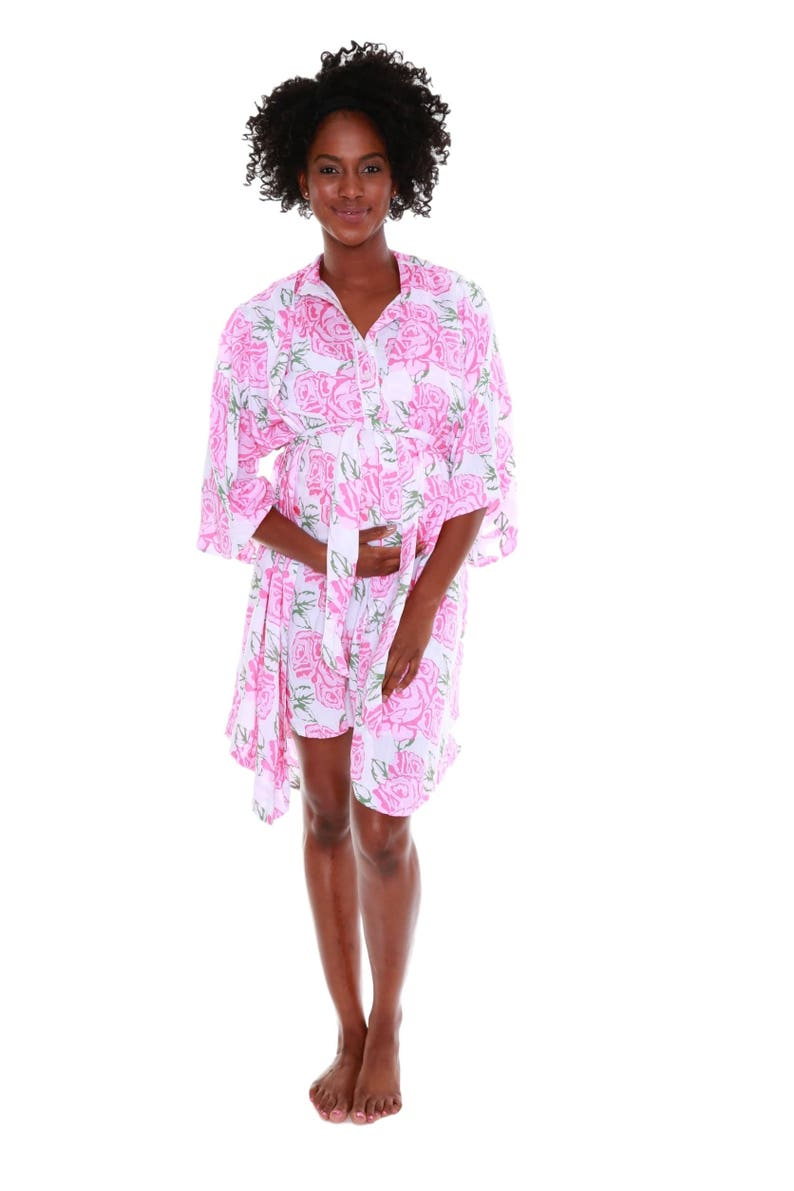 Luxurious Ultra Soft Maternity Delivery Labor Nursing Robe-Hospital Bag Must Have Blue Pink Floral Birthing Hospital Gown Kimono Rosalie