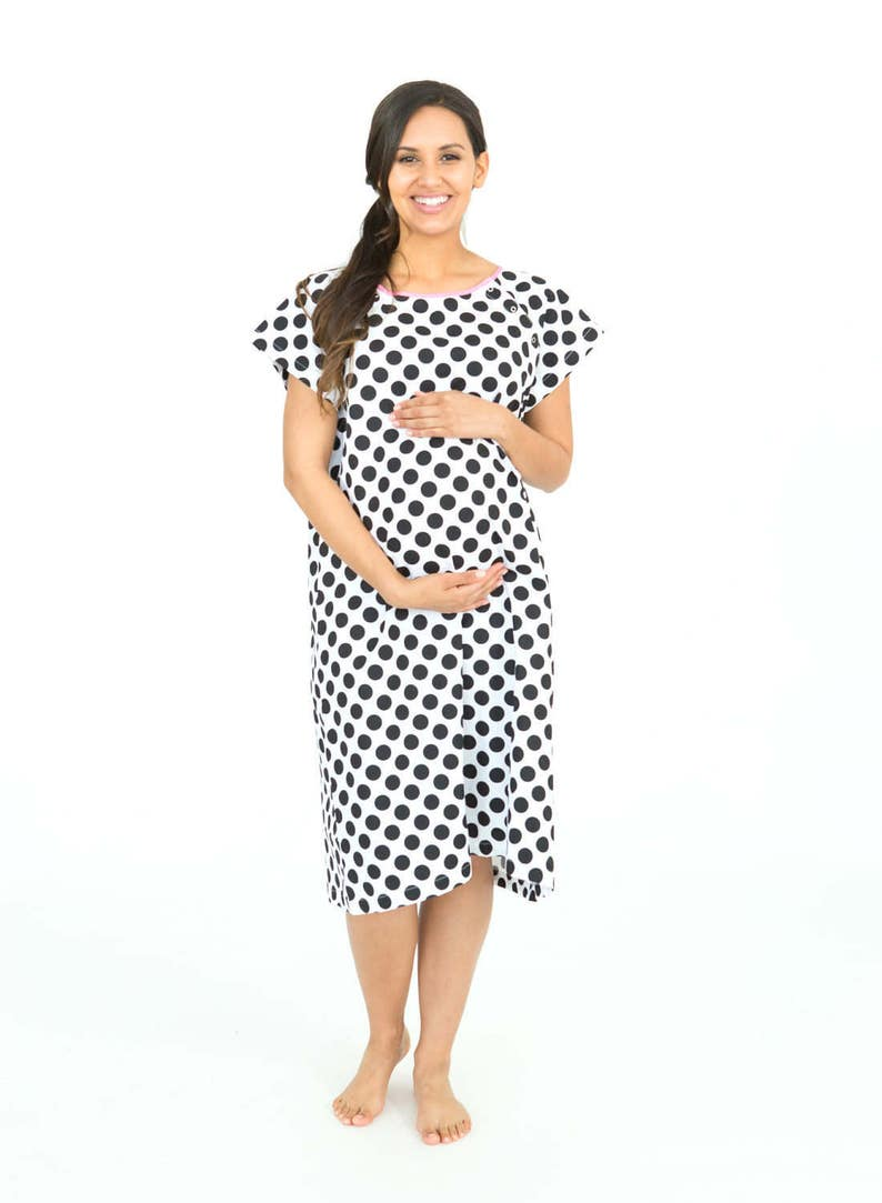 51a0f94d90e4f Celine Black and White Dotted Labor Delivery Maternity   Etsy