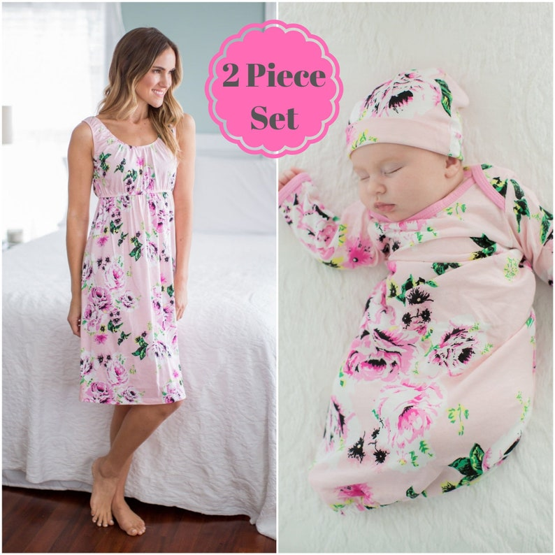 fa8bf4549d6 3 PC Set Amelia Floral Maternity Nursing Nightgown   Matching