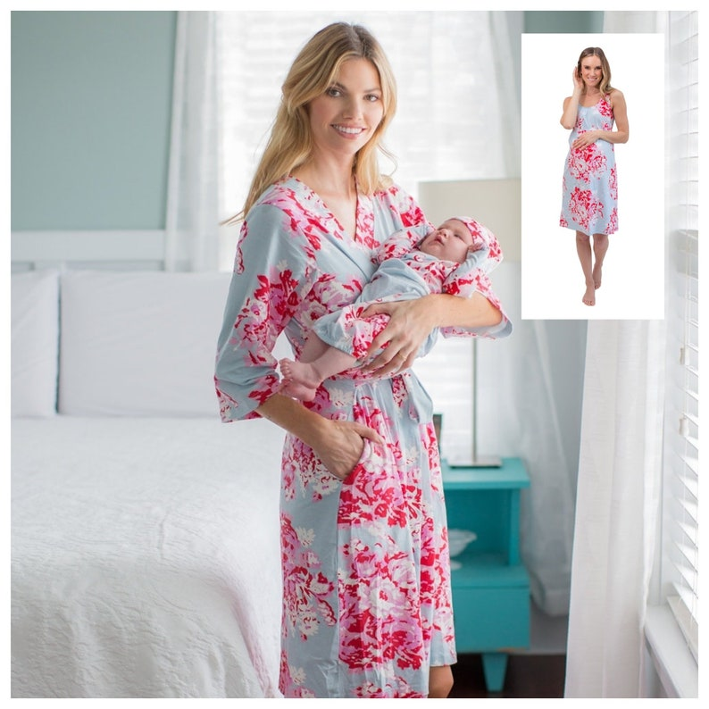 eba5f0b61c7 4 PC Set Mae Floral Maternity Delivery Labor Nursing ROBE