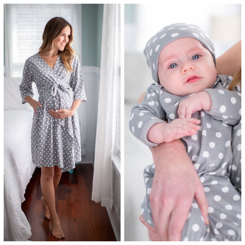 30088ceb11a 3 PC Set Lisa Gray Dotted Maternity Delivery Labor Nursing