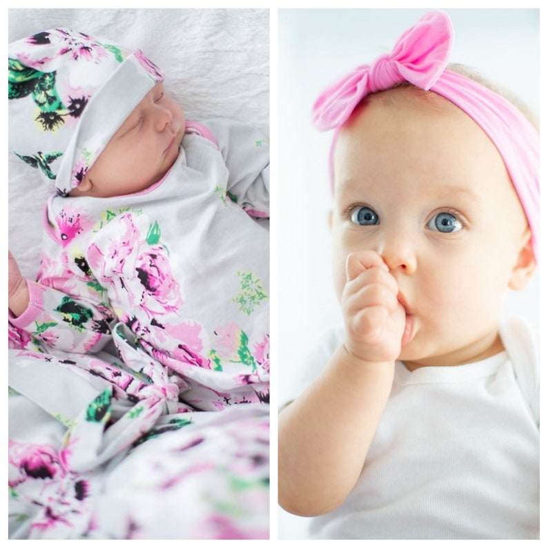 49c04eafc8d 3 PC Set Olivia Floral Newborn Baby Receiving Gown   Matching