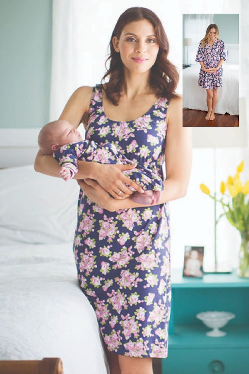 d7dd75d957 4 PC Set-Eve Maternity Delivery Labor Nursing Robe   Matching