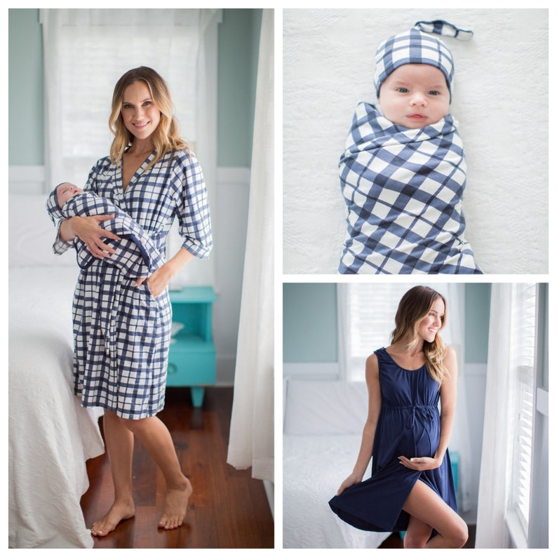 f3e882874abd5 4 PC Navy Blue 3 in 1 LABOR Delivery Gown Blue Gingham   Etsy