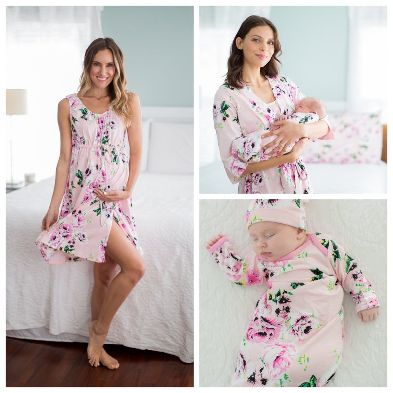 35dbb677abd 4 PC Set Amelia Floral Maternity Delivery Labor Nursing Robe