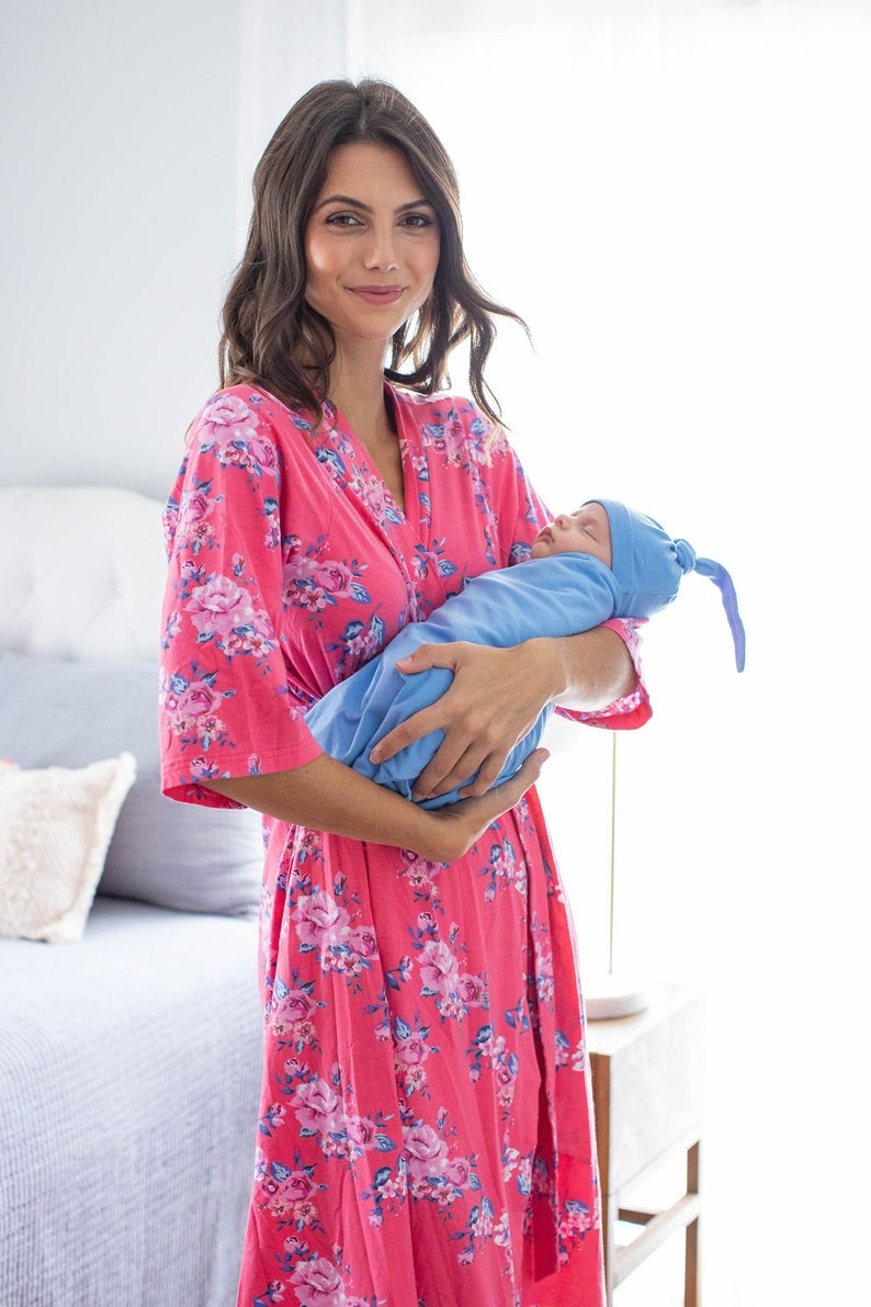 Baby Shower Gift Baby Be Mine Rose Maternity Nursing Delivery Robe and Sky Blue Baby Boy Swaddle Blanket /& Newborn Hat Set Mommy and Me