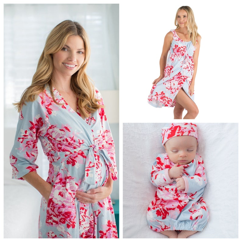 4 Piece Set Mae Floral Maternity LABOR and Delivery Gown + Delivery ROBE +  Matching Baby Girl Gown   Newborn Hat Set Baby be Mine Maternity 87eff12ee